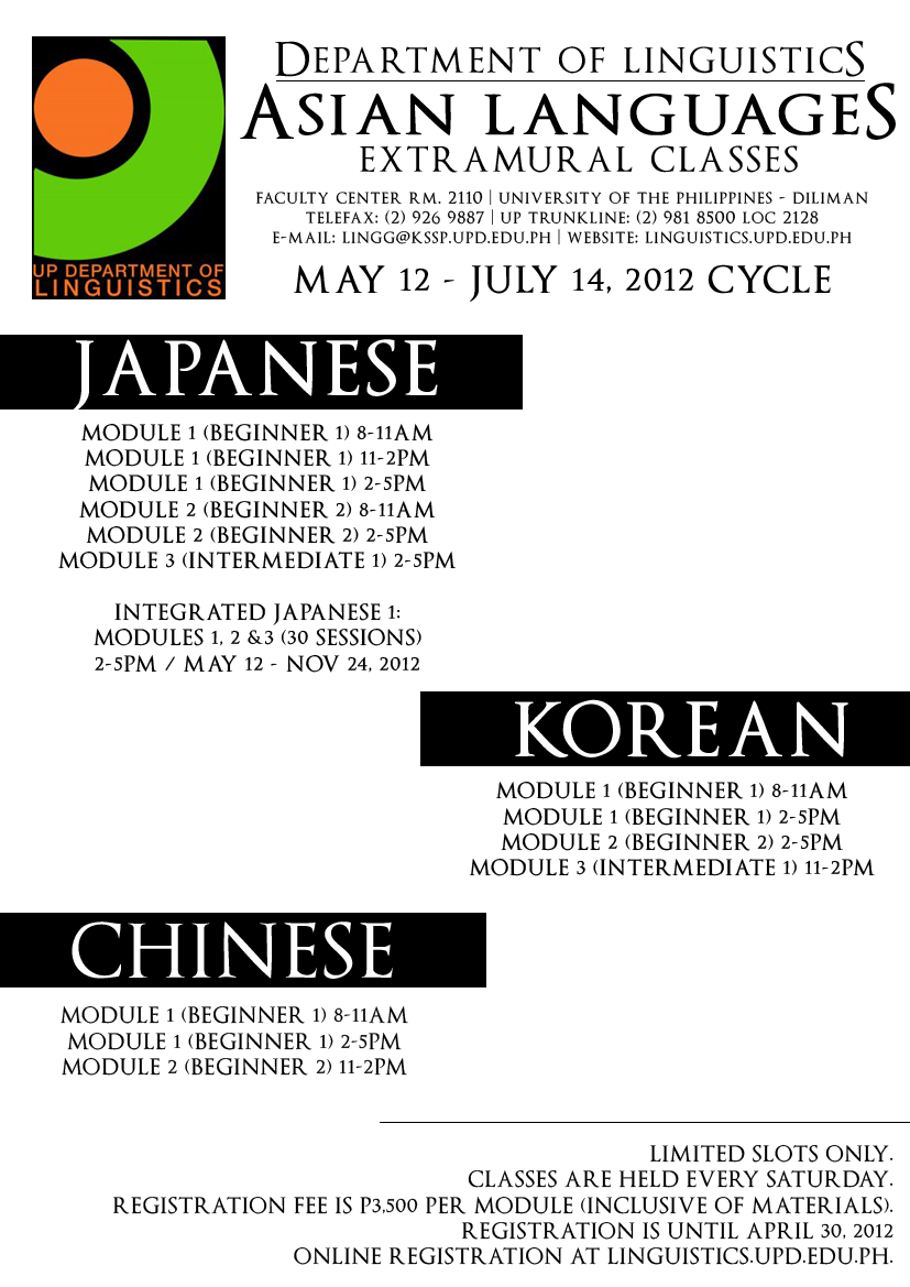 Asian Languages Extramural Classes May 12 July 14 2012 Up