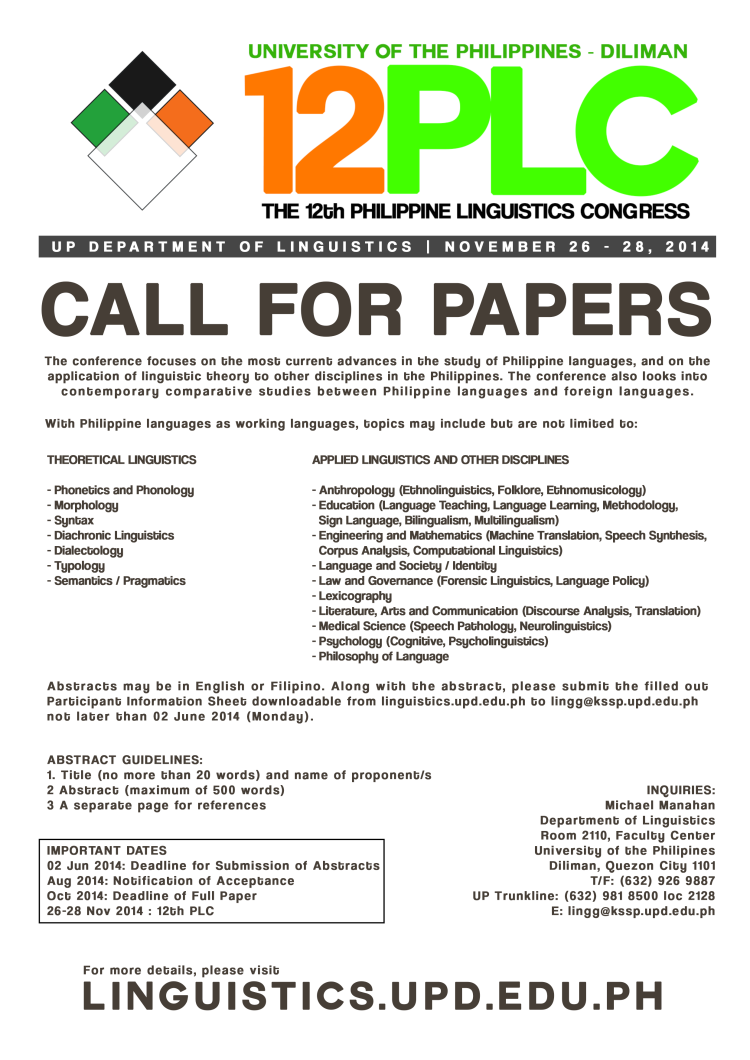 12PLC Call for Papers Study 7