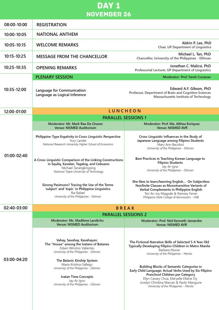 Day 1 Conference Program (as of 17 Nov 2014)