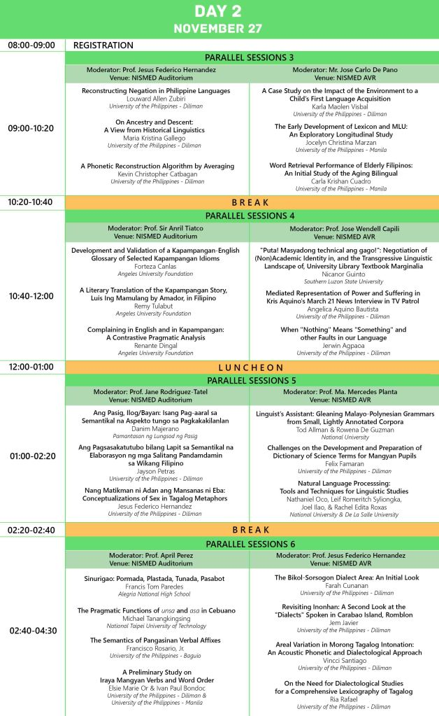 Day 2 Conference Program (as of 14 Nov 2014)