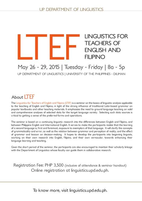 Linguistics for Teachers of English and Filipino (LTEF)
