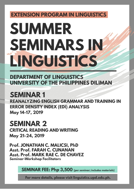 2019 Summer Seminars in Linguistics