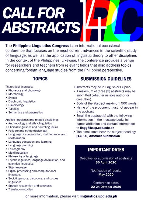 14th Philippine Linguistics Congress(14PLC)
